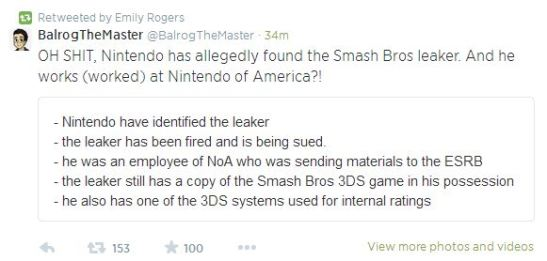 Smash Bros Leaker Fired